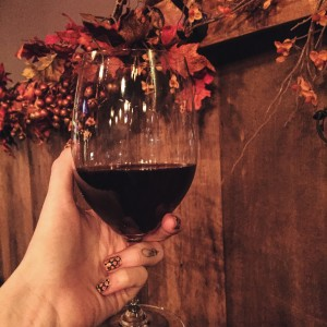 ​I love when my nails match my wine and decorative surroundings.